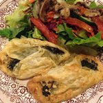 Spinach and feta borek with salad