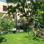 сад отеля и терраса, на которой можно и позавтракать в том числе