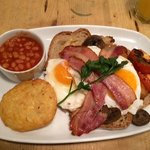 Full english with extra beans and potato cake. Yum!