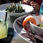 Kale salad, shrimp cocktail, and drinks