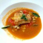 Potato scaled island fish & Kona abalone - saffron braised fennel, kaffir lime aromatic broth