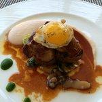 Butter poached beef tenderloin & foie gras - waialua asparagus, mushroom, quail egg + truffle