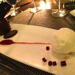 "Maracaibo ""Grand Cru"" Chocolate – Fior di Latte gelato, ruby port gelee, macron almond"