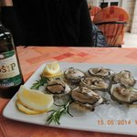 Amfora,Orebic - oysters with a bottle of Posip