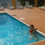 in the heated pool