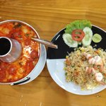 Prawn dish, and fried Rice