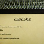 Menu at the Cascade Restaurant at lunch