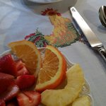 Adorable rooster linens at breakfast