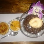 Trio dessert- creme brûlée (actually torched at the table), chocolate mousse, and coconut pannac