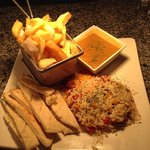 Veg option special rice cooked with onions & peppers served with curry chips and pitta