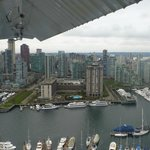 View of the Westin from a seaplane tour - perfectly located on Coal Harbour
