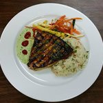 Grilled Swordfish with Wasabi Herb Aoili & an Asian Stir Fry with Vegetables & RIce