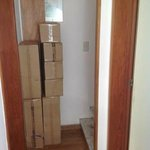 Boxes in access (and fire exit) to one room