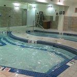 Pool area (pool on left; hot tub on right)