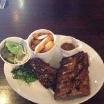 8oz steak with half rack ribs