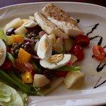 Niçoise Salad... fresh Grouper, green beans,hard boiled egg, potatoes...
