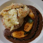 Seared Grouper with toasted Coconut/Coconut Rice Pilaf and black bean sauce