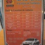 Tarif location véhicules