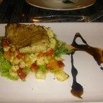tuna steak - over cooked but tasty pineapple sauce