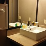 Bathroom vanity area. The toilet/shower is off of this room has its own door. Very small, but do