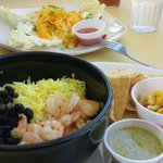 Island bowl with lime shrimp and citrus mojo