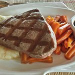 Grilled Tuna with Mashed Potatoes and Ginger Carrots