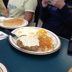 Chicken Fried Steak with pancakes