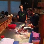 Juri and Guido preparing pizza!!!