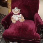 Teddy Bear (for sale, of course) and chair