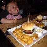 like father like son, my little boy enjoying hos mini burger stack