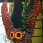 beautiful detail on this pottery hand painted owl !