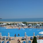 View of the pool, blue sea, blue sky