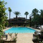 La vuen la piscine, les palmiers...