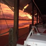 Spectacular sunset over Las Hadas on Santiago Peninsula and Manzanillo Bay
