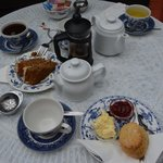 Colombian coffee, walnut and coffee cake, scones and pots of tea