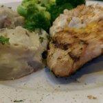 Chicken Chesapeake with garlic mashed potatoes and broccoli