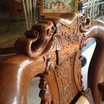 Carved chairs in Reception