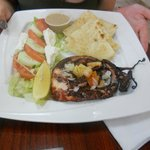octopus with simple greek salad and pita
