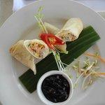 crab and prawn spring rolls