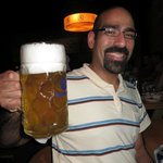 Enjoying a big beer!