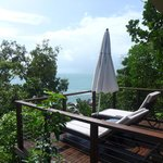 Sunlounges and deck of Oceanview Terrace villa