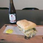 Porchetta Sandwich with Four Winds beer.