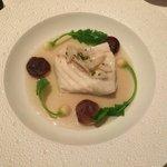 Lightly salted grilled cod; bell pepper salad, warm scallion vinaigrette