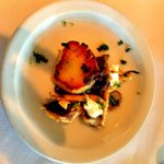Seared scallops with mushrooms and goat cheese. Perfect