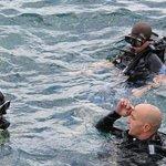 Les premières secondes dans l'eau