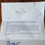 Letter to my 4 year old, accompanying his lost Bear, which Lansdowne found and kindly returned.