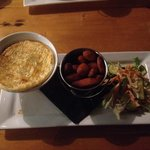 Venison pie with kumera chips and salad