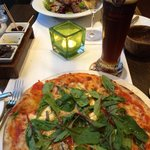 Candied walnut & goat cheese pizza, then the BEST salad I've ever had!  Steak and grilled goat c