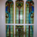 Stained glass window in corridor