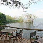 The terrace overlooking Lake Ihema